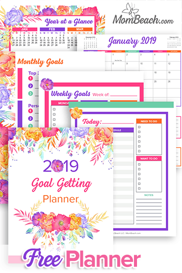 Free Printable Planner: 2019 Goal Getting Planner. This free printable planner and printable binder is sure to help you set your goals this year. With 161 pages, this printable is sure to help you. Free printable planners, free printable binders and more are awesome! #freeprintables #freeprintableplanner #freeprintablebinders