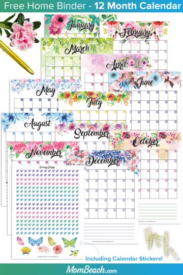 free calendar home binder