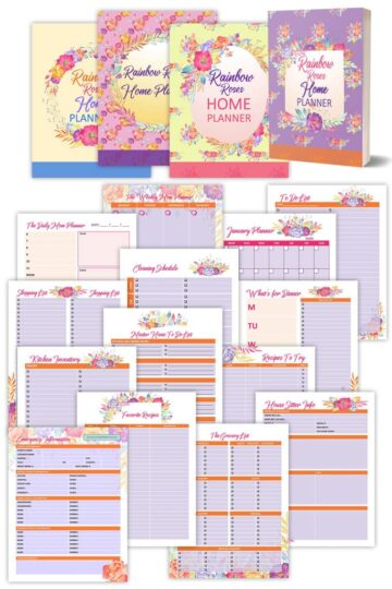 Rainbow roses planner
