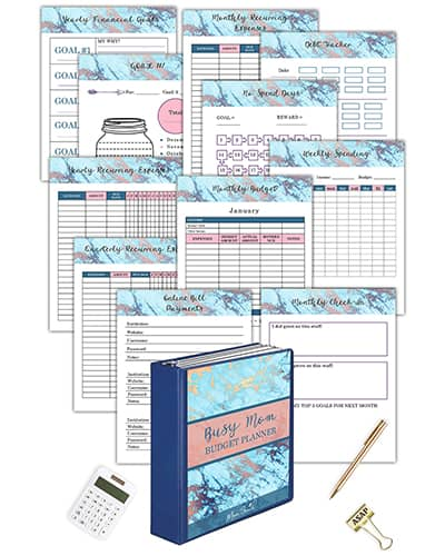 Get this Busy Mom Budget Planner with all the cute template sheets to help you budget.