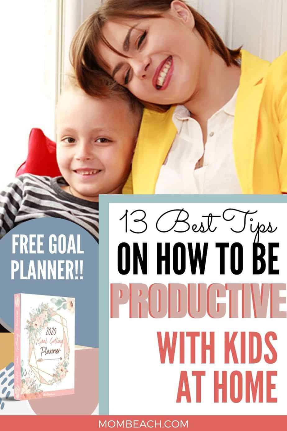 It can be hard to stay productive as a stay at home mom who works. There are several things to do to stay productive. We explore 13 productivity tips to boost your day routine. There are several things to do at home to stay productive. Included is a free goal planner to help you be more productive. #productivitytips #howtobeproductive #howtobeproductivestayathomemom