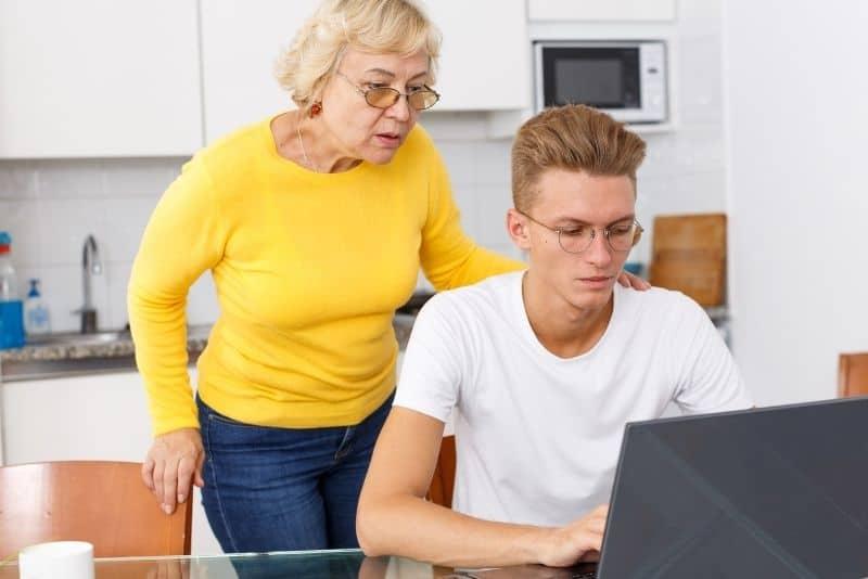 grandma and grandson on laptop