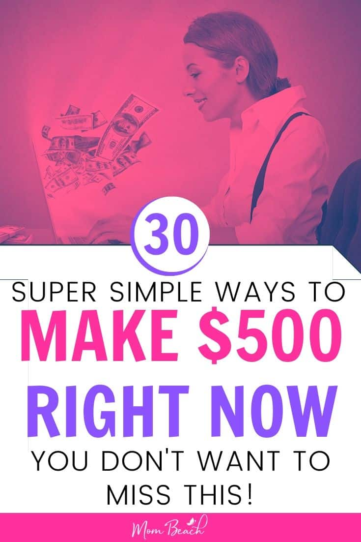 These 30 ways are simple to follow and will help you earn cash in no time at all. Make money online right now if you need to make the rent or pay off your credit card debt. #make500fast #makemoneyonline #howtomake500fast #moneytips #money #makemoneynow #quickcash #fastcash