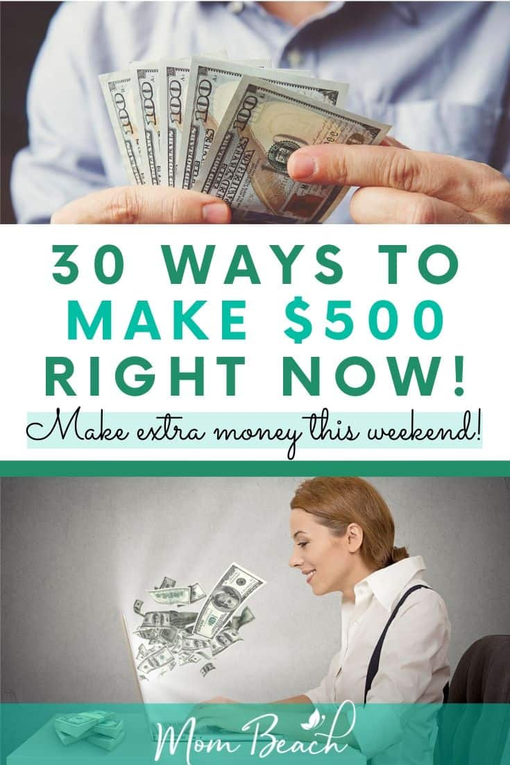 This in-depth guide explains how to make $500 right now in your spare time. These 30 ways are simple to follow and will help you earn cash in no time at all. Make money online right now if you need to make the rent or pay off your credit card debt. #make500fast #makemoneyonline #howtomake500fast #moneytips #money #makemoneynow #quickcash #fastcash