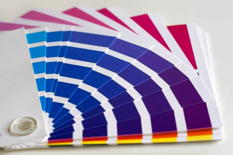 Does it hurt to look at these paint samples in different shades of blue and purple? Sensitivity to colors can be a sign of pregnancy.
