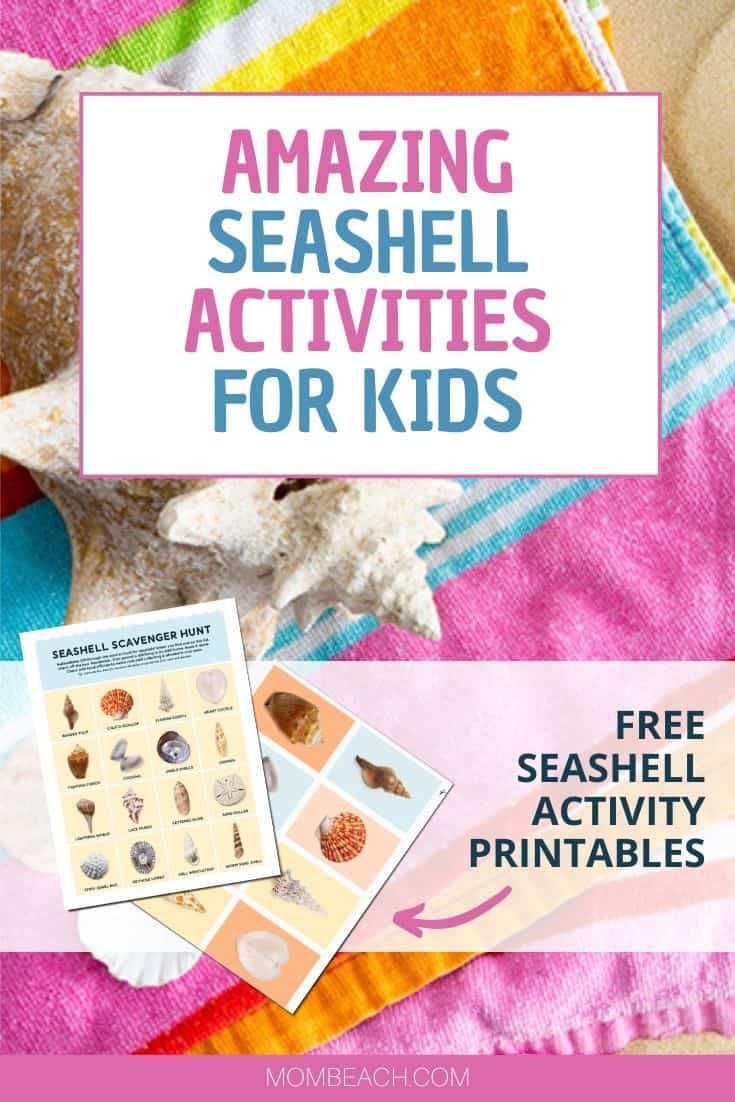 Your kids will have a blast with these amazing seashell activities. Seashell activities for kids are so much fun and a great learning experience. We have included 2 free printables in this article that are a seashell scavenger hunt and seashell flashcards. Seashell activities are fun for kids and preschoolers alike to have a fun day at the beach this Summer. #seashellactivitiesforkids #beachactivities #beach #summeractivities #kidssummeractivities #seashellactivities #seashellactivity