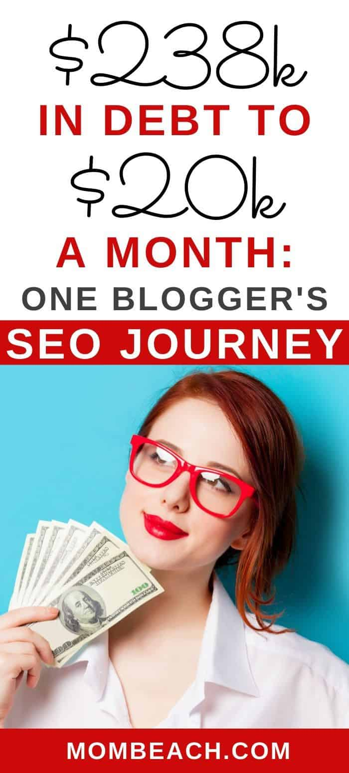 Debbie Gartner went from $238k in debt to $20k a month by using SEO on her blog! Find out how to use SEO on your blog to get free traffic a month Debbie Gartner gets 500k page views a month from using SEO and Pinterest traffic. Learn from this master blogger right now! If your are a blogging beginner this is helpful for you too. #seo #bloggerseo #blogging101 #bloggingforbeginners #beginnerSEO #seoforbloggers