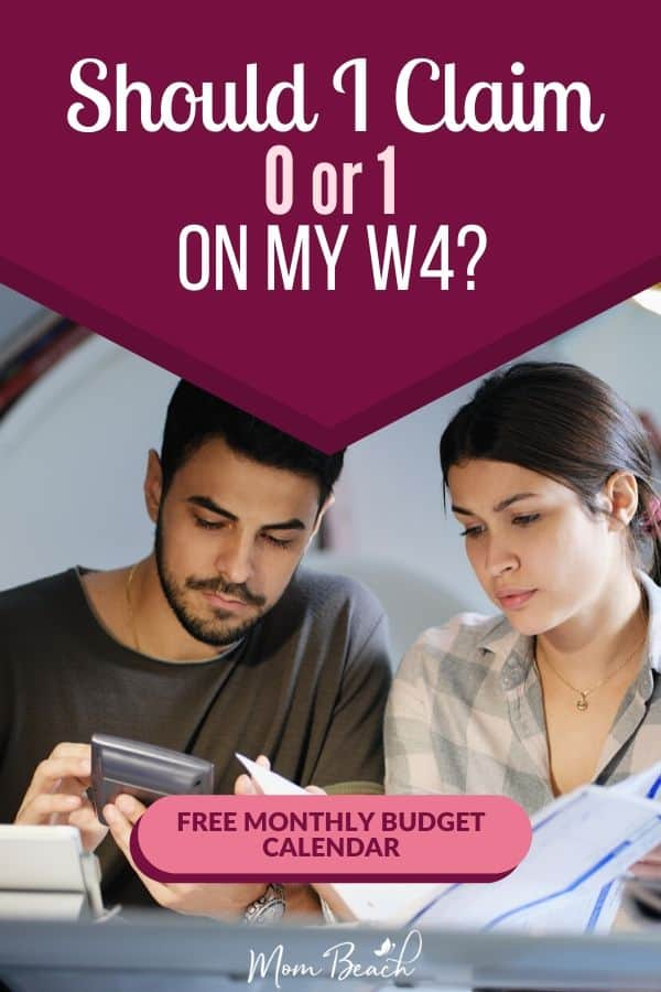Should you claim 0 or 1 on your W4 for taxes? This article helps you understand when to claim 0 and when to claim 1 allowances on your W4! These are tips can maximize your tax return so you can avoid paying too much on taxes. #claim0or1onw4 #taxes #taxtips #taxadvice #taxseason #taxhelp