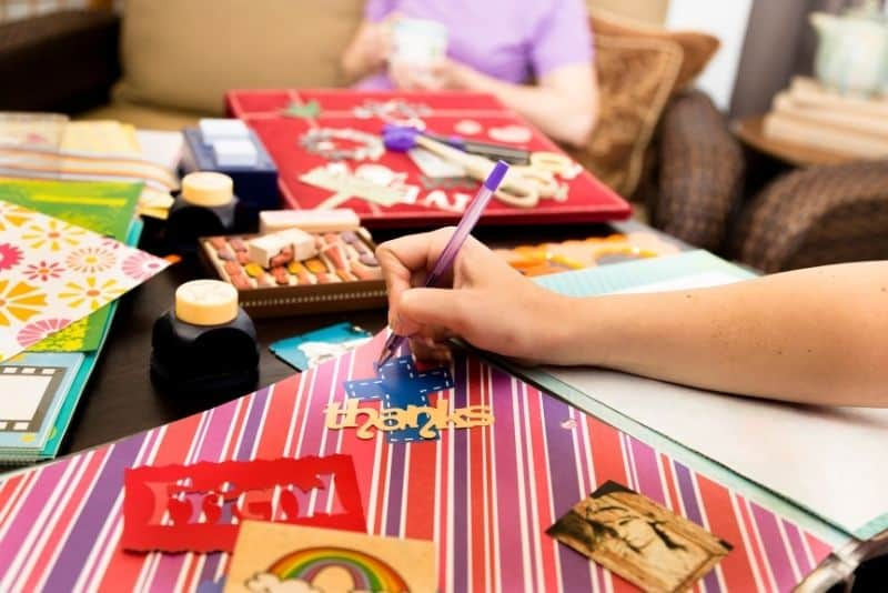 Woman selling her arts and crafts to make money from home.