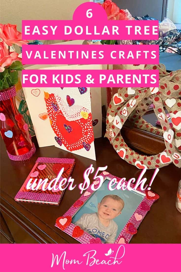 These 6 original Dollar Tree valentines crafts are fun and easy to make for kids and preschoolers. Parents and kids can make them together for bonding time. These are amazing to give as gifts for loved ones or teachers. Dollar Tree is a great place to find crafts for kids. These gifts can be given to parents. Toddlers and preschool children can do these crafts too. #valentinescraftsforkids #dollartreevalentinescrafts #dollartreecrafts #valentinescraftsforpreschoolers #valentinescrafts